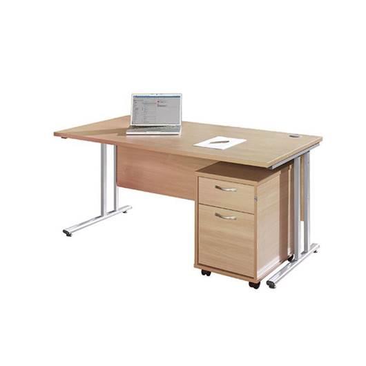 Picture of Maestro Desking - Straight Desk Bundle with 2 Drawer Pedestal - Beech Worktop